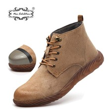 New exhibition Safety Work Boots Men Genuine leather cap toe steel Desert Martin Boot Anti-piercing jelly bottom High work shoes