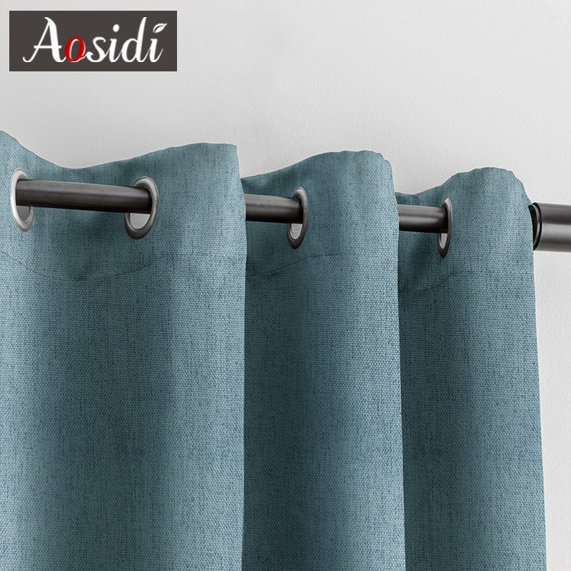 Aosidi linen textured 100% blackout curtains for bedroom modern