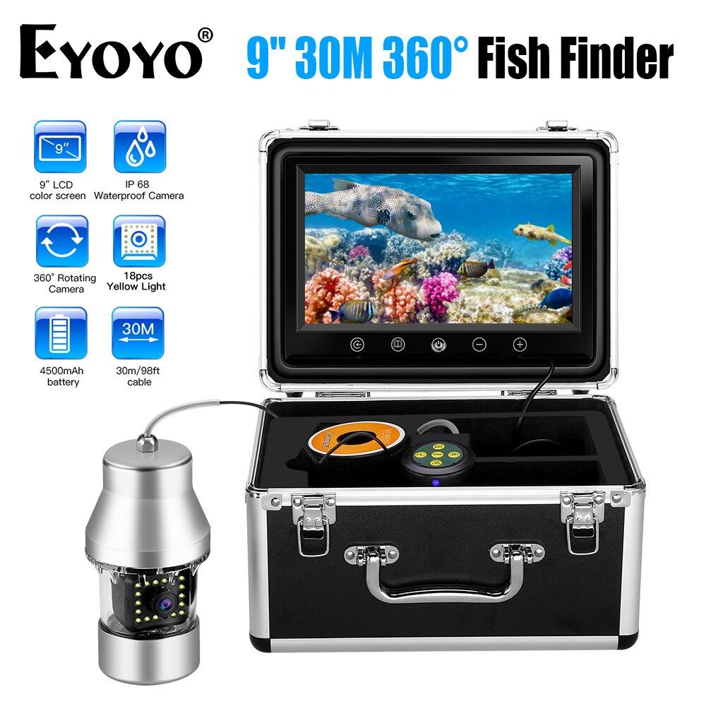 EYOYO WF08, 9 Дюймов, 30 м, 360 градусов, рыболокатор, камера наблюдения для рыбалки, водонепроницаемая, 18 шт., желтые светодиодные фонари, подводная рыболовная камера