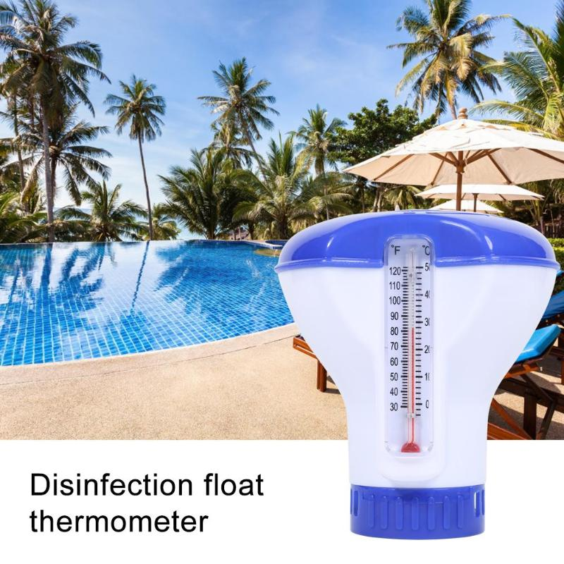 Swimming Pool Floating Pills Disinfecting Box With Thermometer Automatic Dispenser Afloat Disinfection Pill Case