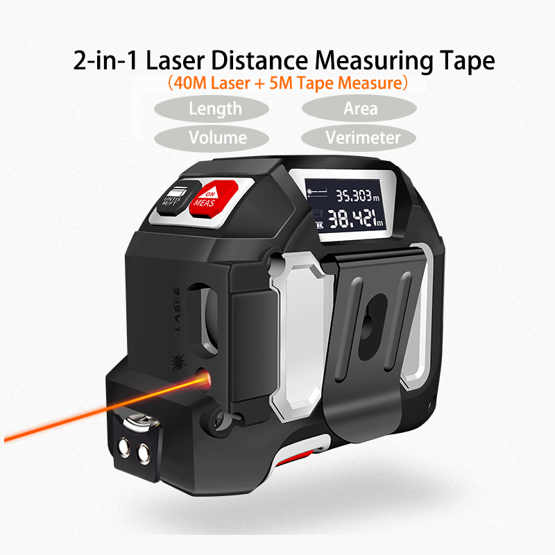 2 in 1 40M+5M Intelligent Digital Laser Ranges Finder Electronic Display Tape Measure Laser Measurement Finder Distance Meter