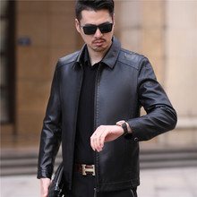 Men's leather garment Haining Lapel middle aged leather jacket casual father's suit sheep skin thin coat in spring and Autumn