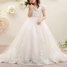 Qality Lace Kids Pageant Dress Flower Girl Dresses for Wedding Beading White Communion Dress for Girls Aged 4-14 Years