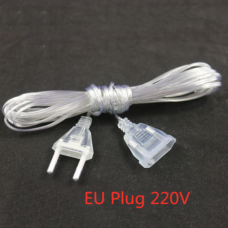New 3m Plug Extender Wire Extension Cable EU/US Plug For LED String Light Christmas Wedding Party Home Decoration 4