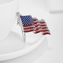 American Flag Lapel Pin United States USA Rhinestone Enamel Badge Brooches Pins Fashion Stripe Star Accessories 2020 Hot enamel bird shape with rhinestone on branches brooches