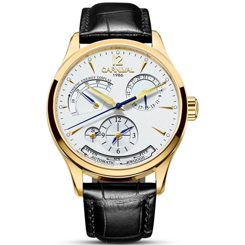 CARNIVAL Automatic Watch Men Switzerland Luxury Brand Multifunction Mechanical Watches 50m Waterproof Leather Sport Wrist Watch