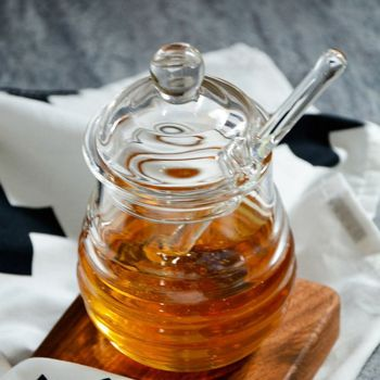 Transparent glass honey jar with lid Honey Jar with Dipper, Clear, 9 Ounces