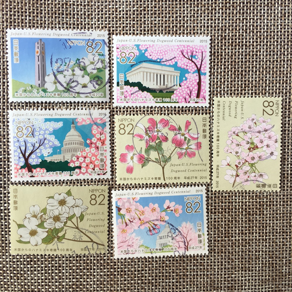 7Pcs/Set 2015 Japan Post Stamps Cherry Blossom To USA for 100 Years Used Post Marked Postage Stamps for Collecting(China)