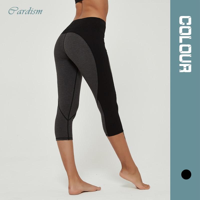 Cardism High Waist Women's Yoga Pants  Sports Leggings For Fitness  Calf-Length Running Push Up Sweatpants Splicing Women Pants 1