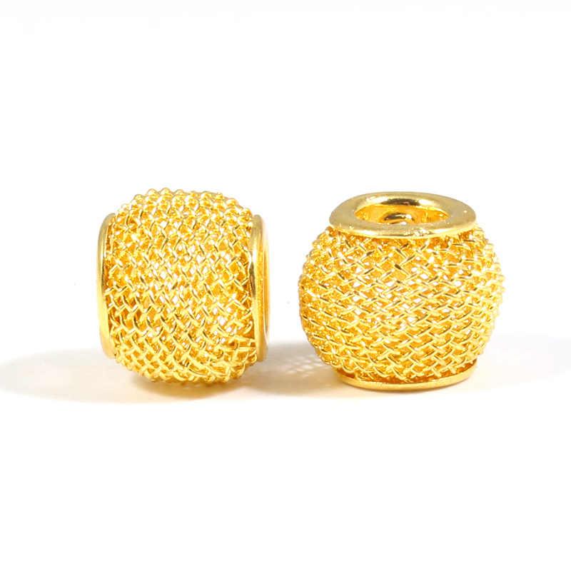 20 pièces en alliage de métal rond perles creuses résultats de bijoux perles d'espacement pour bijoux à bricoler soi-même faisant des accessoires de collier de bracelet à breloques