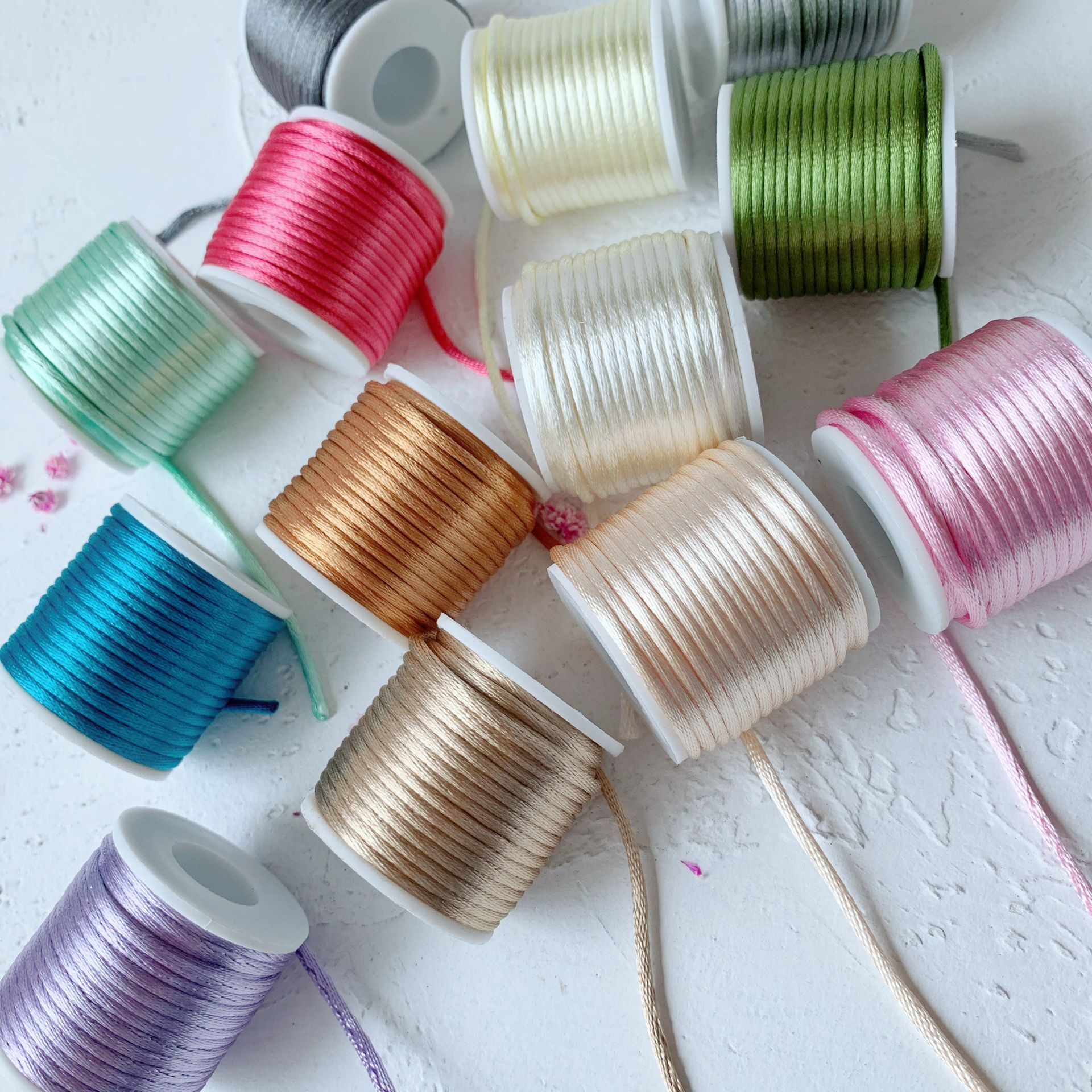 42Colors 2mmX10m/roll Strong Braided Macrame Silk Satin Nylon Cord Rope DIY Making Findings Beading Thread Wire 2mm