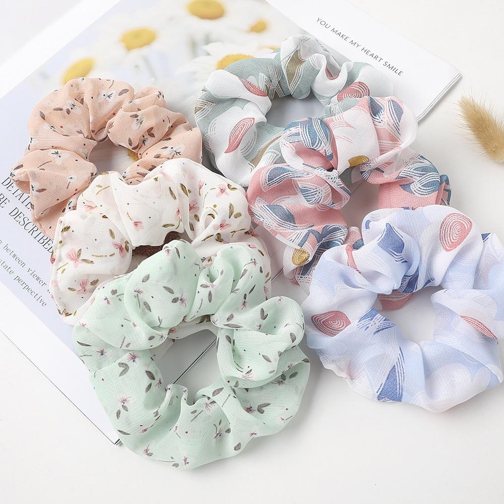 Brand New Women Cute Hair Scrunchies Chiffon Floral Hair Schrunchy Elastic Rubber Bands Korean Lolita Hair Ties