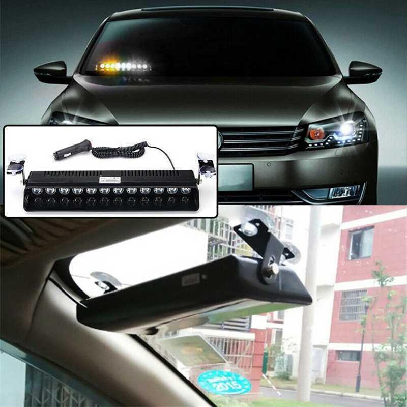 12 Светодиодный светильник-вспышка для автомобиля, аварийный Предупреждение светильник, Янтарный Белый