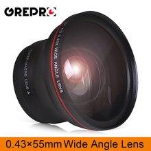 55 мм 0.43x профессиональный HD широкоугольный объектив (w/Macro part) для камер Nikon D3400, D5600 и Sony Alpha
