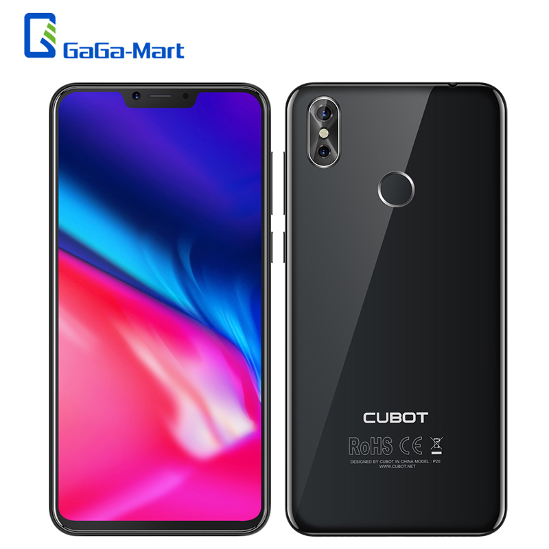 Cubot P20 Mobile Phone 4GB 64GB 6.18Inch Notch 19:9 Screen Octa-Core 4000mAh Android 8.0 MT6750T 20MP Fingerprint  4G Smartphone