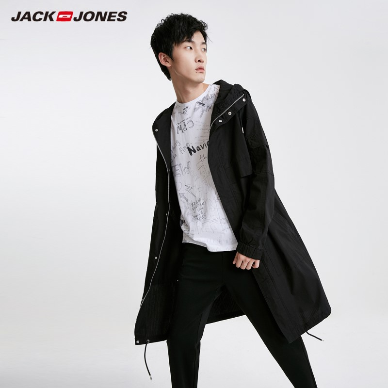 JackJones Men's Mid-length 100% Cotton Fashion Embroidered Coat Streetwear| 219121539