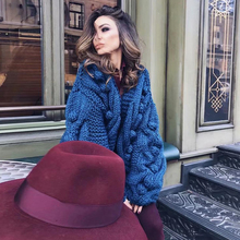 KIYUMI Sweater Cardigan Women Thick Line Hand Crocheted Wool Ball Ins Hot Long Sleeve Autumn Winter New