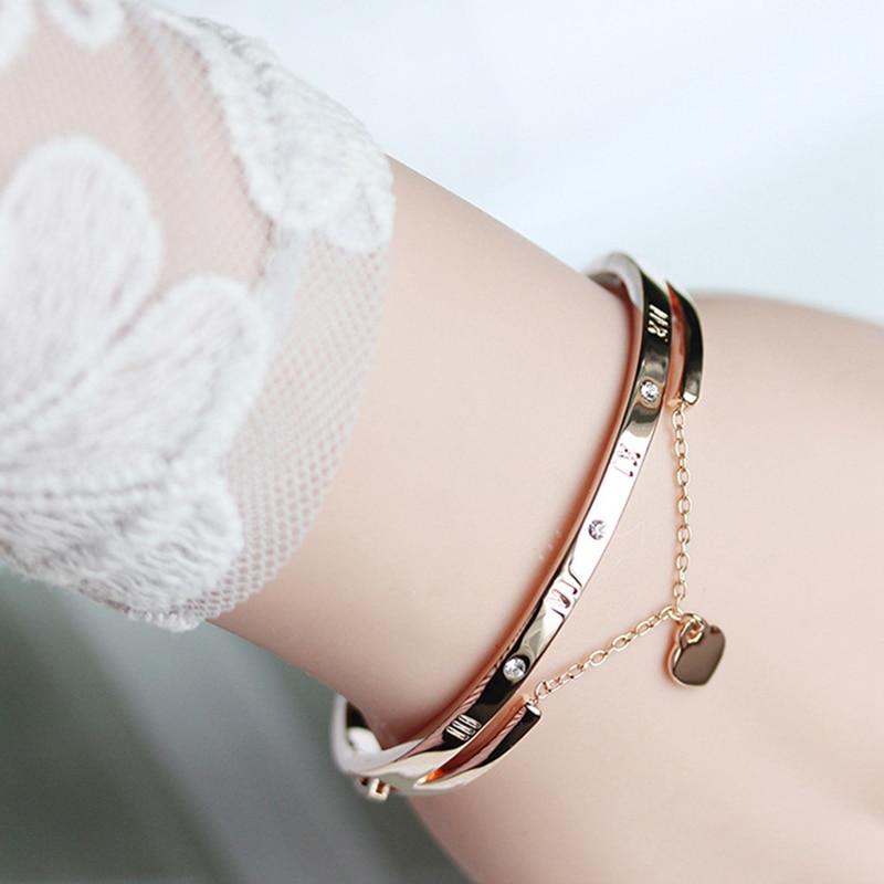 Hot Luxury Rose Gold Stainless Steel Bracelets Bangles Female Heart Wedding Love Brand Charm Bracelet for Women Famous Jewelry 2