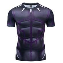 New Summer Marvel 3D Superhero T-shirt Superman / Spider-Man Batman Black Panther Mens Short Sleeve Tight