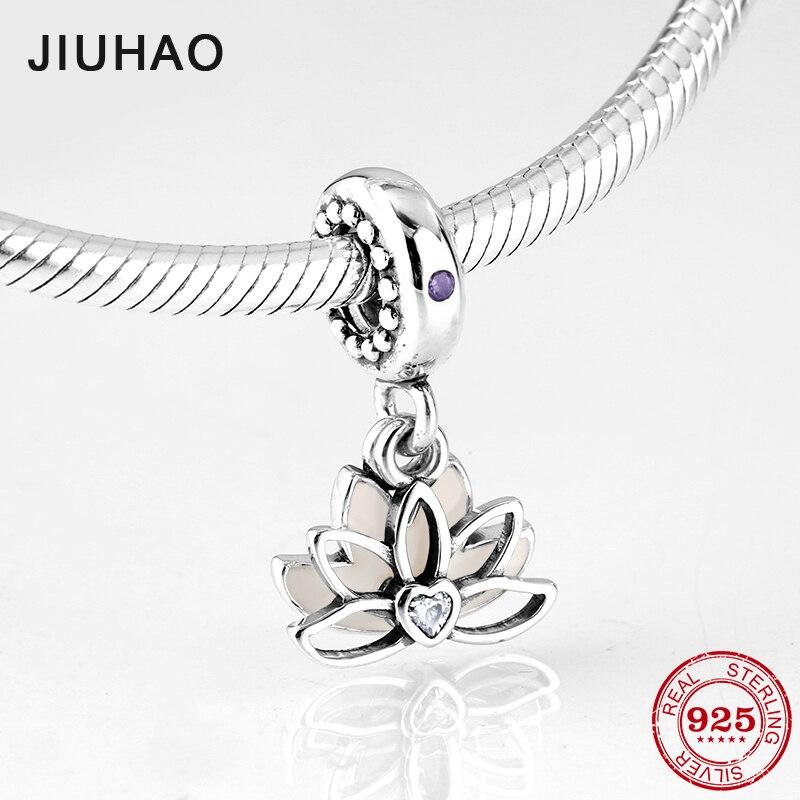 New fashion 925 Sterling Silver like pink Blooming lotus fine Pendants beads Fit Original Pandora Charms Bracelets making(China)