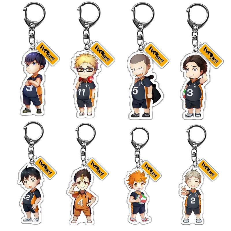 1Pcs Volleyball Boy Anime Haikyuu Acrylic Keychain Cute Cartoon Keyring Cosp P1