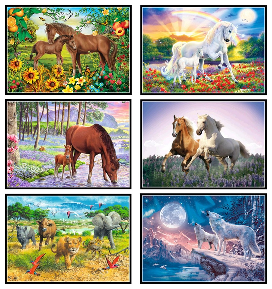 5d Diy Diamond Painting Forest Animal Horse Cross Stitch Diamond Rhinestone Home Decoration
