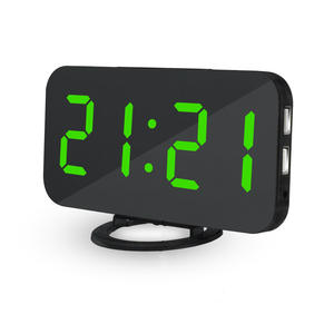 Alarm-Clock Led-Table Time Digital Android Night Desk Snooze-Display for iPhone 2-Usb-Charger-Ports