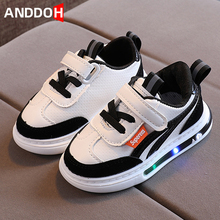 Size 21-30 Child Lightweight Non-slip Sneakers Baby Wear-resistant Damping Sneakers Boys Led Light Up Shoes Girls Glowing Shoes