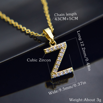 Cubic Zircon Alphabet Pendants Gold Silver Color Copper Mini A-Z Letter Pendant Necklace Shinning 26 Initial Collares Jewelry 5