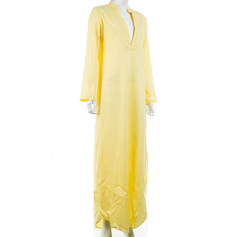 Women Gypsy Dresses Robe Long Sleeve V-neck Ethnic Boho Cotton Linen Summer Beach Maxi Dress 14