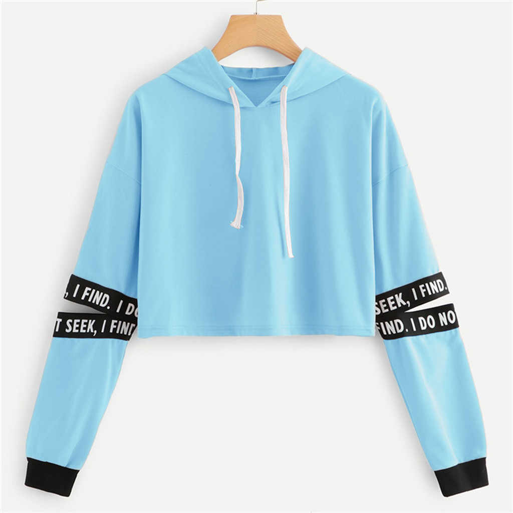 Letter Sweatshirt Women Hollow Out Sleeve Cropped Hoodie 프린트 긴 소매 후드 티셔츠 Polerones Mujer Women Short Hoodies