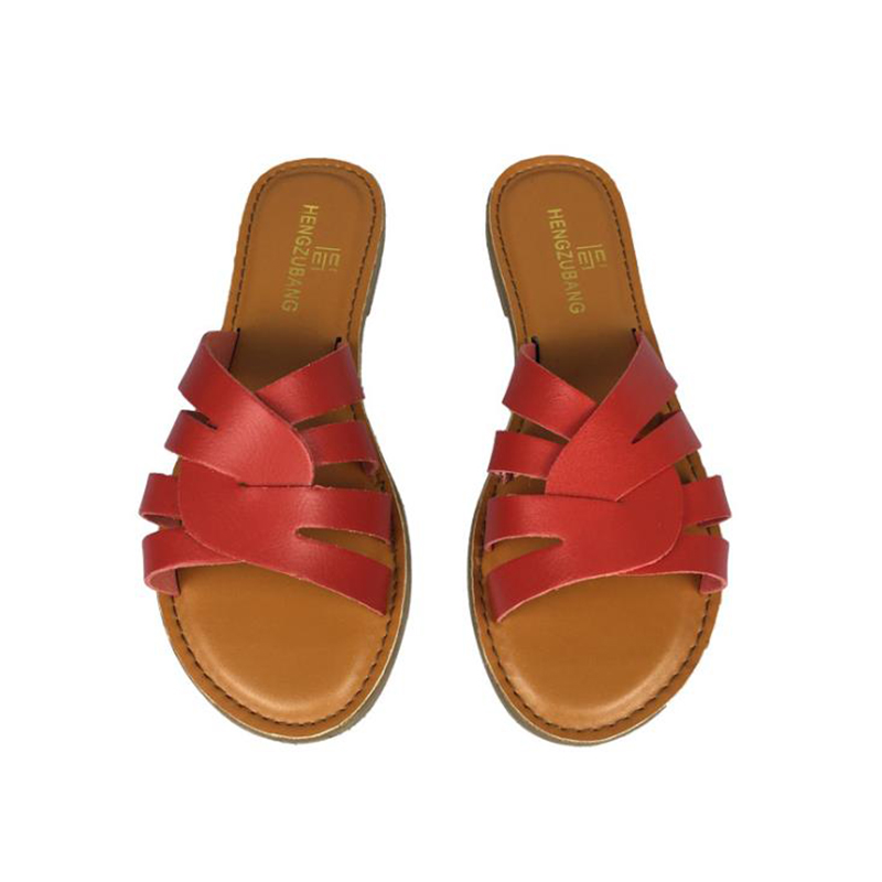 Women Shoes Soft Leather Surround Flat with Open Toe Casual Slides Non-slip Women's Slippers Beach Solid Color Shoes for Summer