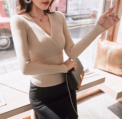 15 colors 2019 Sexy Deep V Neck Sweater Women's Pullover Slim Sweaters Female Elastic Long Sleeve Tops Femme (N0021) 4