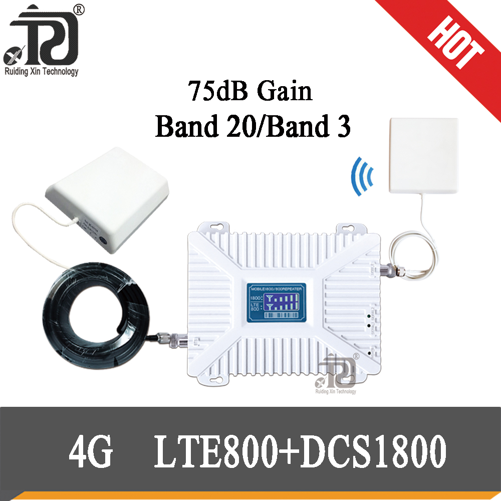75dB Gain Cellular Amplier LTE800(Band20) 1800mhz LTE Dual-Band LTE 800 4G Signal Booster 4G Mobile Cellular Signal Repeater