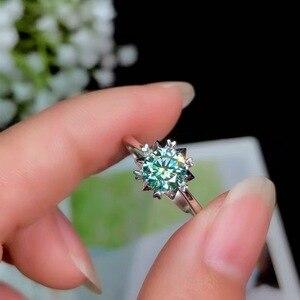 Image 3 - Boeycjr 925 Argento 1ct/2ct Blu Moissanite Vvs Anello di Fidanzamento Nozze di Diamante con Certificato Nazionale per Le Donne