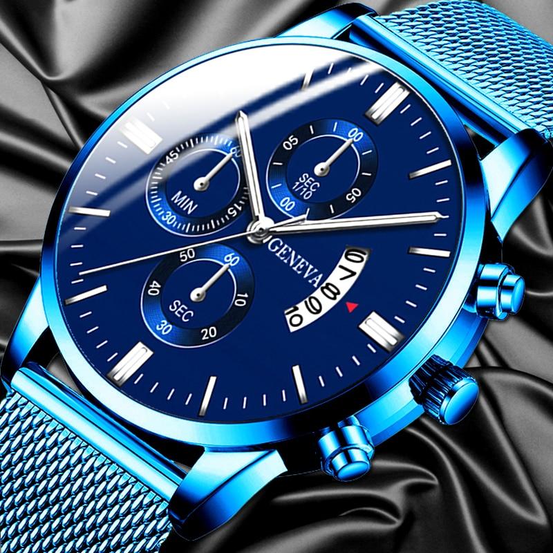 2020 Men's Fashion Business Calendar Watches Luxury Blue Stainless Steel Mesh Belt Analog Quartz Watch Relogio Masculino