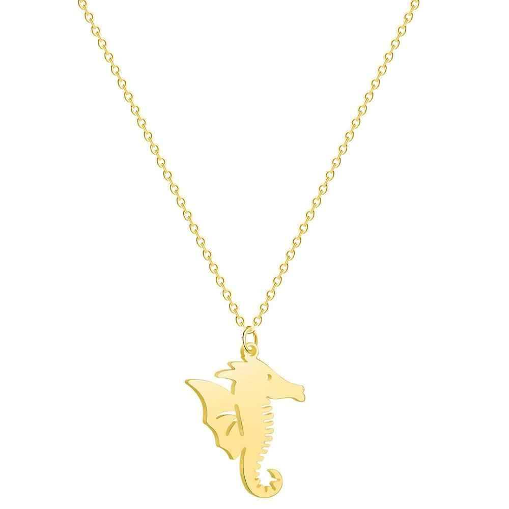 QIAMNI Dainty Animal Seahorse Pendant Necklace Choker Ocean Beach Jewelry Lovely Sea Horse Collares Birthday Gift Collier Femme