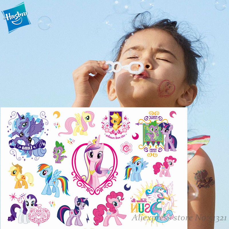 My Little Pony Princess Cartoon Temporary Tattoo Sticker For Girl Cartoon Toy Waterproof Birthday Party Tool Girl Gift