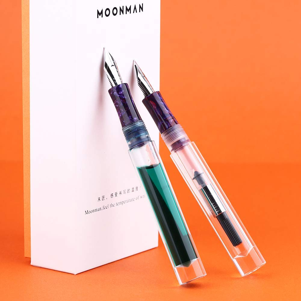 NEW Moonman C1 Dropper Fountain Pen Fully Transparent F/M/Bent Nib With Converter Large-Capacity Ink Storing Fashion Gift Pen