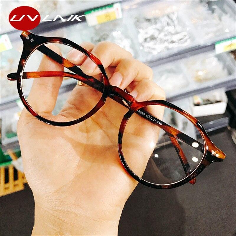 UVLAIK Optical Glasses Frame Boston Eyeglasses Round Myopia Frames Women Clear Transparent Glasses Women's Men's Flower Frames