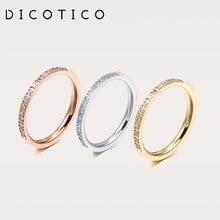 Dicotica – Anneaux de mariage tricolores en acier inoxydable pour Femme, Mini bagues en Zircon, à la mode, 2020