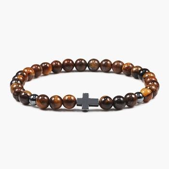 6mm Black Lava Rock Stone Onyx Beads Bracelets Classic Cross Stretch Tiger Eye Bracelet Religion Bangle Women Men Wrist Jewelry 1