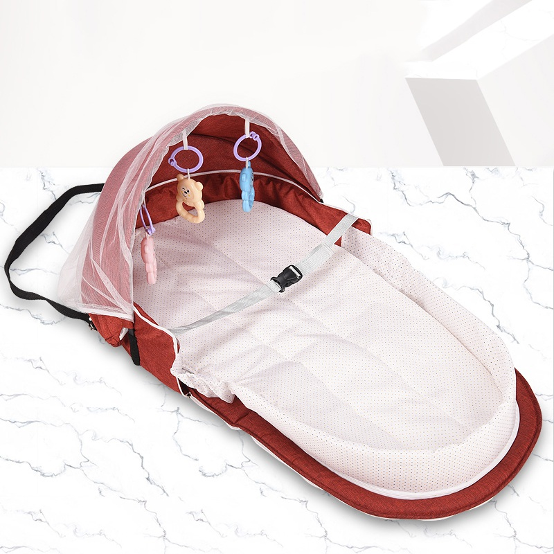 Baby Portable Bassinet For Baby Foldable Baby Bed Travel Sun Protection Mosquito Net Breathable Infant Sleeping Basket With Toys