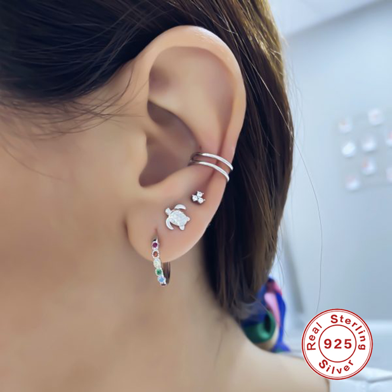 EINDOSER 925 Sterling Silber Mini Schildkröte Persönlichkeit Stud Ohrringe Für Frauen Pendientes Zirkon Diamant Ohrringe Mujer Schmuck
