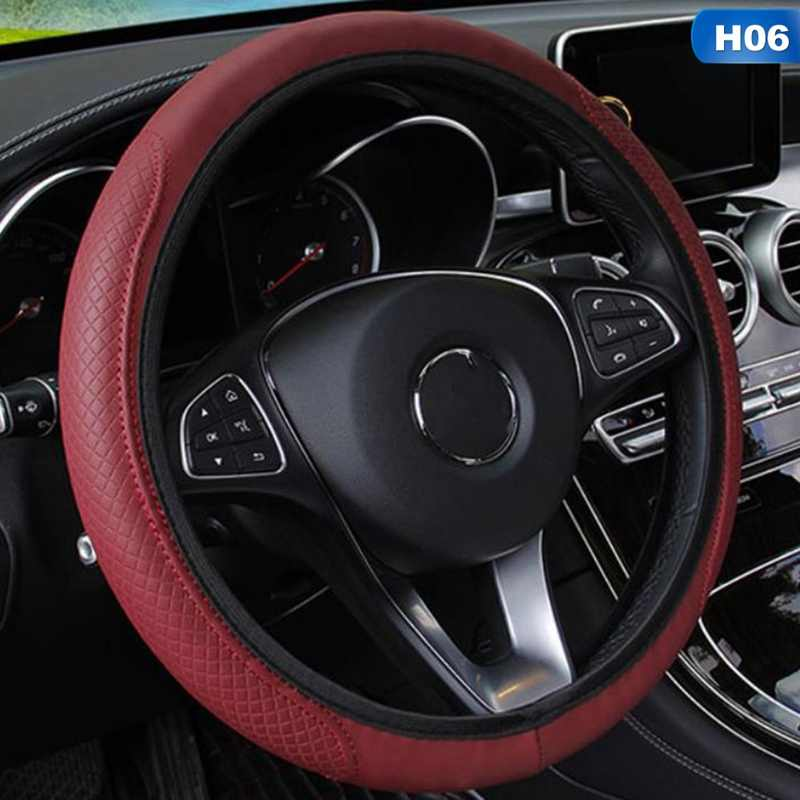 Couverture de volant de voiture couverture de volant automatique anti-dérapant universel gaufrage cuir style de voiture