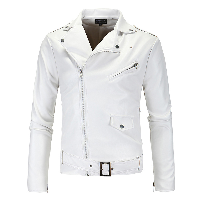 New Men's PU Leather Criss-cross Splice Small Suits Popular Black Zipper Jacket Black White Coat Motorcycle Jackets
