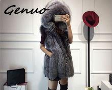 2019 New fur vest imitation silver fox coat hooded vertical stripe medium-long large size women faux