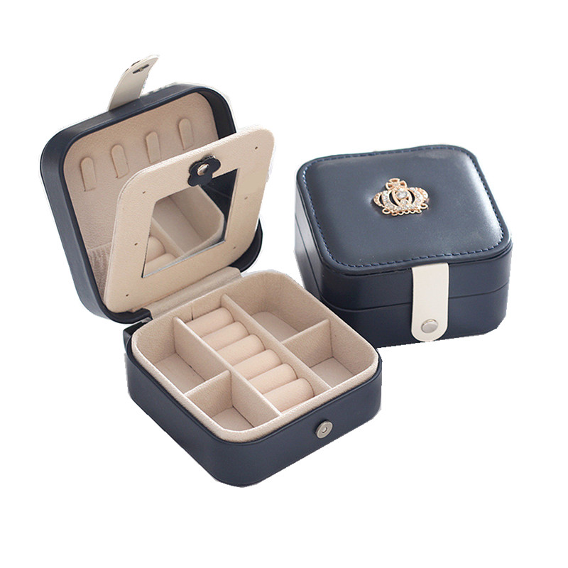 Simple Korean Creative Travel Portable Jewelry Box Earrings Leather  Jewelry Storage Box PU Small Jewelry Bag
