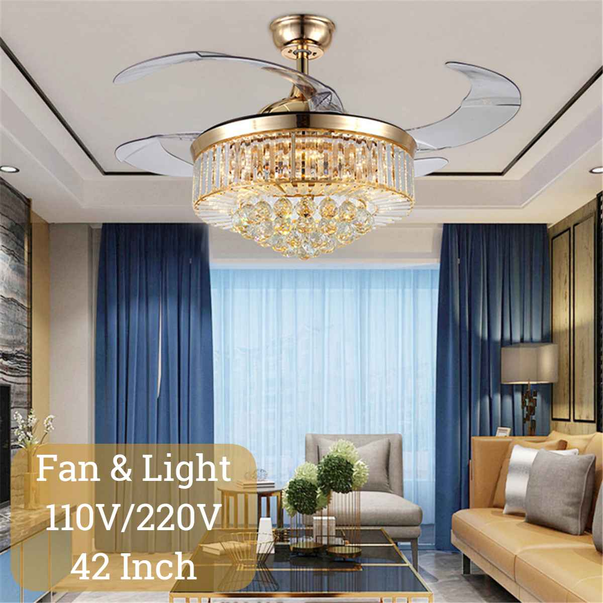 42 Inch Modern Crystal Ceiling Fan Lights With Remote Control Leaf Ceiling Fans Lamp For High Ceilings Livingroom Ceilingfan