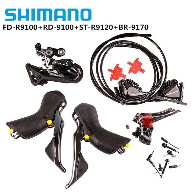 SHIMANO DURA ACE R9100 R9120 R9170 مجموعة Derailleurs الطريق الدراجة ST + FD + RD الجبهة الخلفية Derailleur التحكم المزدوج رافعة التحول